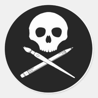 Art Skull Round Sticker