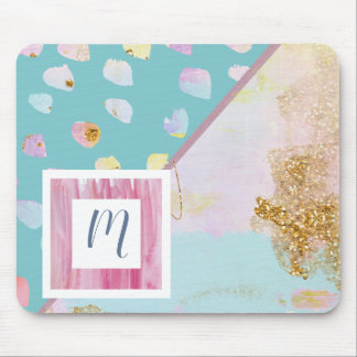 Art Split Screen in Fun Pastels and Glitter Mouse Pad