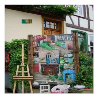 Art Studio with Painting and Easel Glossy Poster
