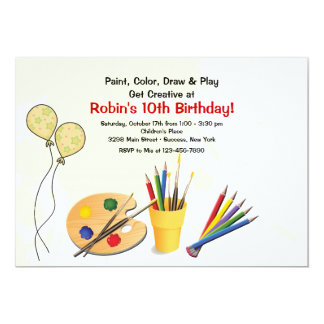 Art Supplies Birthday Party Invitation