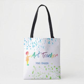 Art Teacher Watercolor Splatter Personalized Fun Tote Bag