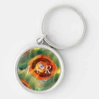 art texture abstract water green, orange, circle Silver-Colored round key ring