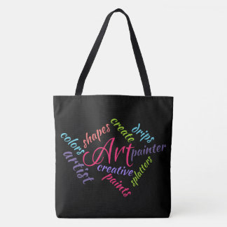 Art Typography, Abstract Word Cloud, Colorful Text Tote Bag