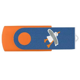 Art USB Stick: John Dyer Seagull Blue Orange Swivel USB 3.0 Flash Drive