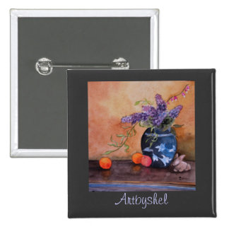 Artbyshel lilacs and bunnies 15 cm square badge