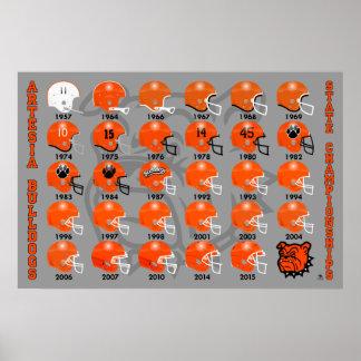 Artesia Bulldogs State Champs Helmet Poster