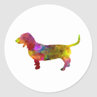 Artesian Norman Basset in watercolor Classic Round Sticker