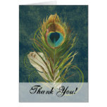 Artful Detail Peacock Feather Thank You Note Card