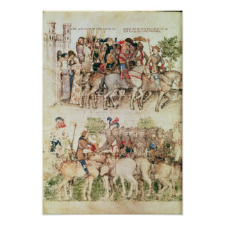 Arthur and his knights setting out on the poster