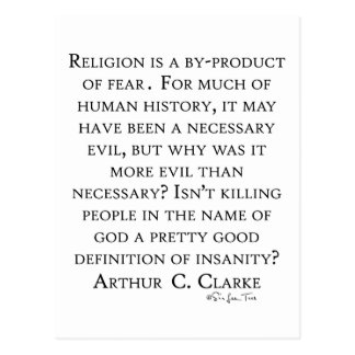 Arthur C Clarke On Religion Postcard