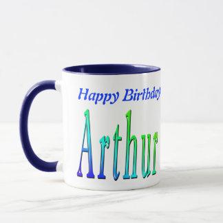 Arthur, Happy Birthday Logo Blue Combo Coffee Mug. Mug
