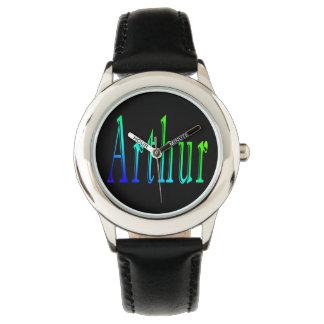 Arthur, Name, Logo, Boys Black Leather Watch. Watch