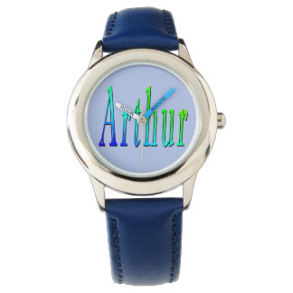 Arthur, Name, Logo, Boys Blue Leather Watch. Watch