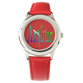 Arthur, Name, Logo, Boys Red Leather Watch. Watch