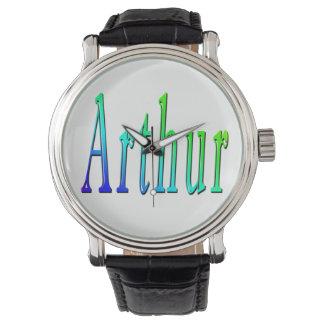Arthur, Name, Logo, Mens Black Leather Watch. Watch