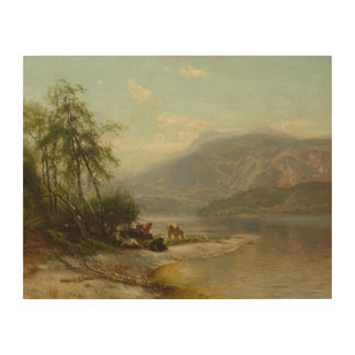 Arthur Parton - Cows Watering at River's Edge Wood Canvas