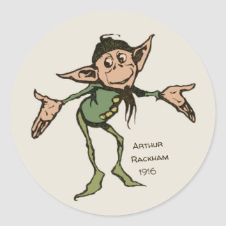 Arthur Rackham Gnome (colour) Brothers Grimm Classic Round Sticker