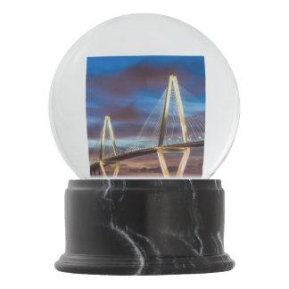 Arthur Ravenel Bridge At Night Snow Globes
