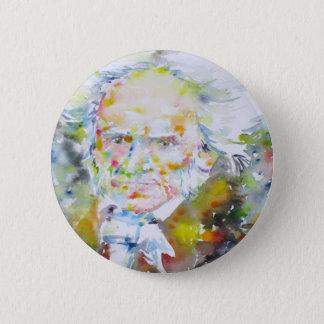 arthur schopenhauer - watercolor portrait.1 6 cm round badge