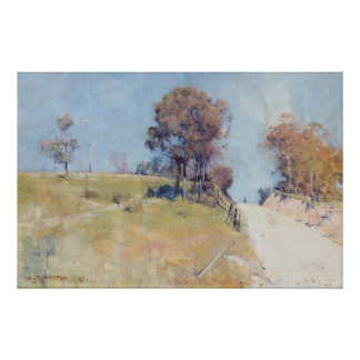Arthur Streeton - Sunlight (Cutting on a hot road) Poster