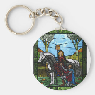 Arthurian Window Basic Round Button Key Ring