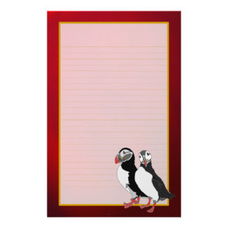 Artic Puffins on Red Ruby Fine Lined Stationery