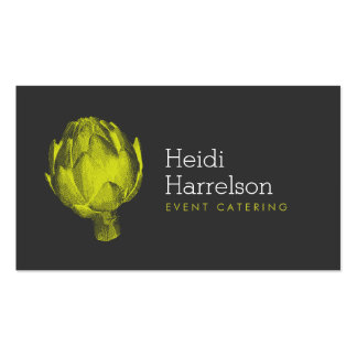 Artichoke Illustration Green/Gray - Catering, Chef Pack Of Standard Business Cards