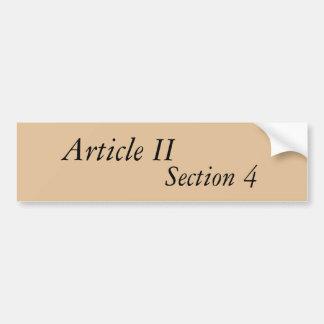 Article II Section 4 bumper sticker