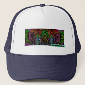 artifacts - 8 bit hero in front of a mountain trucker hat