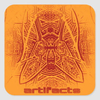 artifacts - fly on the wall (orng/mrn) square sticker