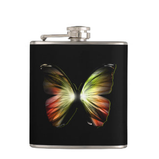 Artificial Butterfly 6 oz Vinyl Wrapped Flask
