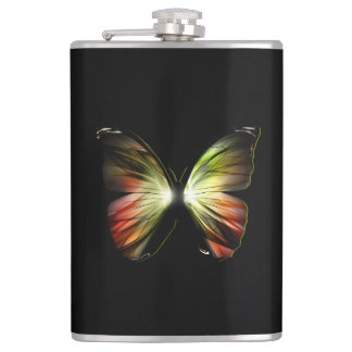 Artificial Butterfly 8 oz Vinyl Wrapped Flask