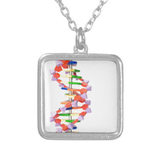 Artificial DNA model Silver Plated Necklace