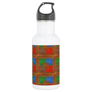 Artisan Elegant Leather Look Squares Patchwork 532 Ml Water Bottle