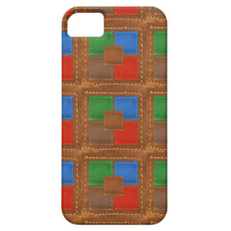 Artisan Elegant Leather Look Squares Patchwork Barely There iPhone 5 Case