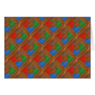 Artisan Elegant Leather Look Squares Patchwork Greeting Card