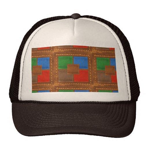Artisan Elegant Leather Look Squares Patchwork Mesh Hats