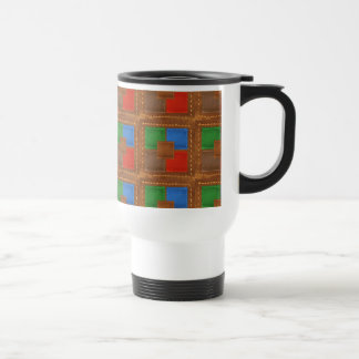 Artisan Elegant Leather Look Squares Patchwork Coffee Mugs
