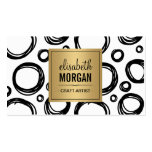 Artist Abstract Sketch Circles and Gold Name Logo Pack Of Standard Business Cards