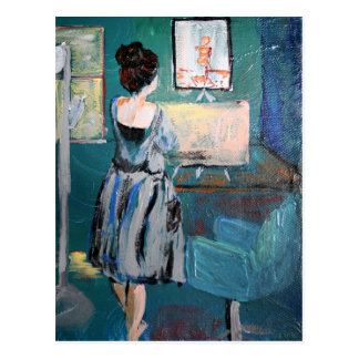 Artist at her desk postcard