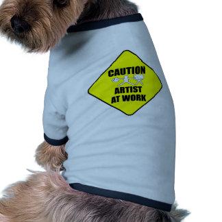 artist at work sign ringer dog shirt