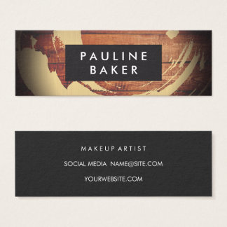 Artist Brush Stroke Rustic Wood Mini Business Card