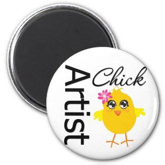 Artist Chick 6 Cm Round Magnet