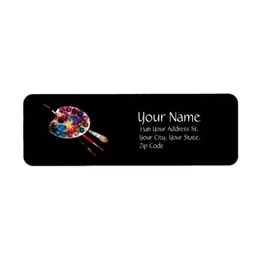 ARTIST COLOR PALETTE AND BRUSHES,Black Return Address Label