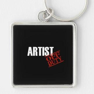 Artist Dark Silver-Colored Square Key Ring