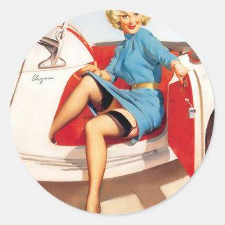 Artist Gil Elvgren Classic Round Sticker