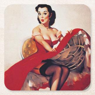 Artist Gil Elvgren Square Paper Coaster