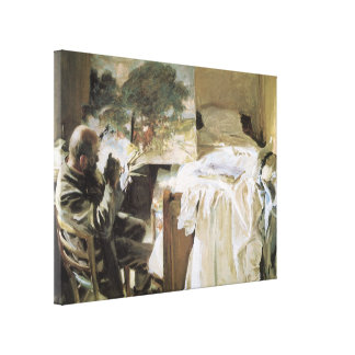 Artist in His Studio by Sargent, Vintage Victorian Stretched Canvas Print