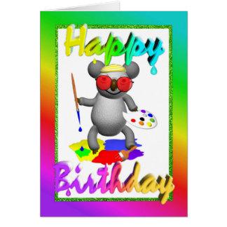 Artist Koala Birthday Card
