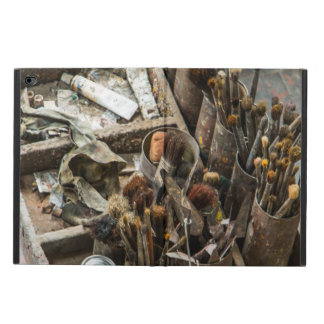Artist Paintbrushes and Paint in Old Wooden Case